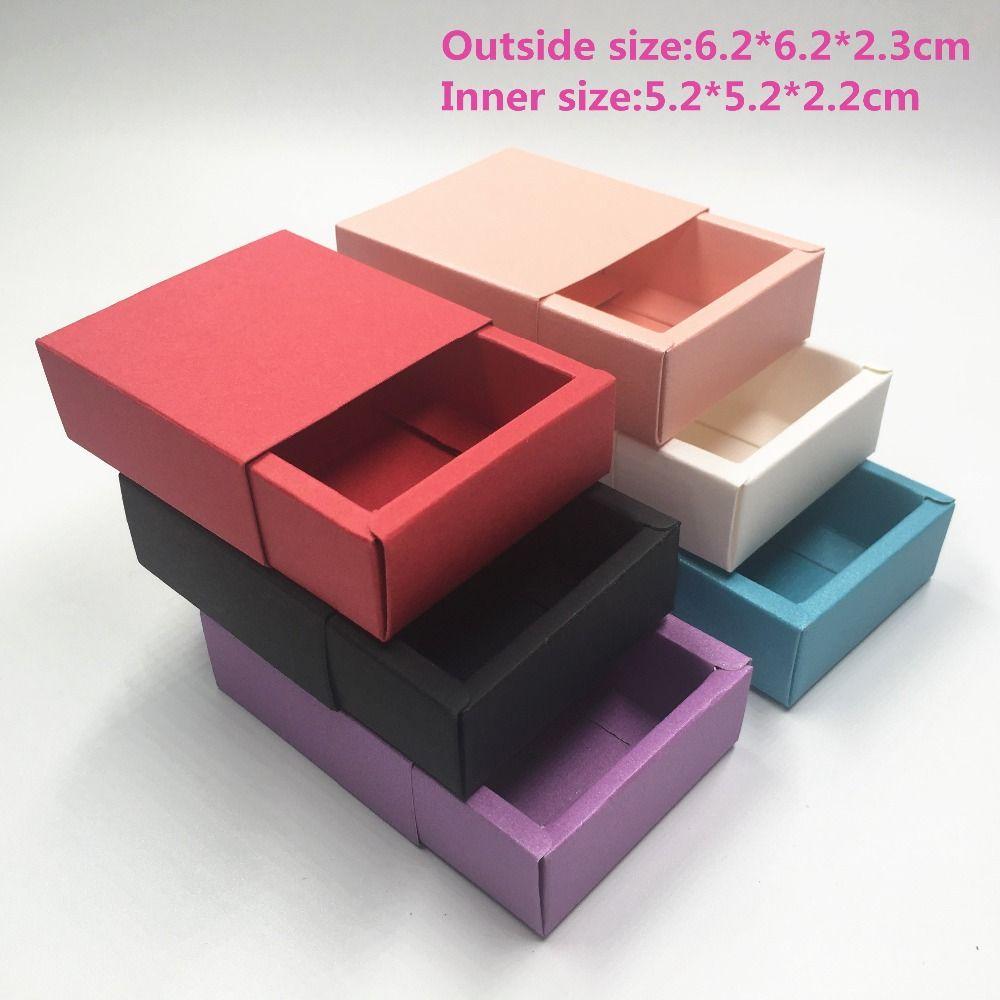 12pcs Kraft Paper Drawer Gift Box Blank piccole scatole di imballaggio dei monili 6 colori per il regalo \ sapone fatto a mano \ mestieri \ gioielli \ giocattolo \ contenitore di caramella