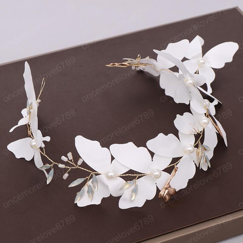 Vintage Handmade Flower Sweet White Butterfly Headband Garland for Women Bridal Hairband Wedding Hair Accessories