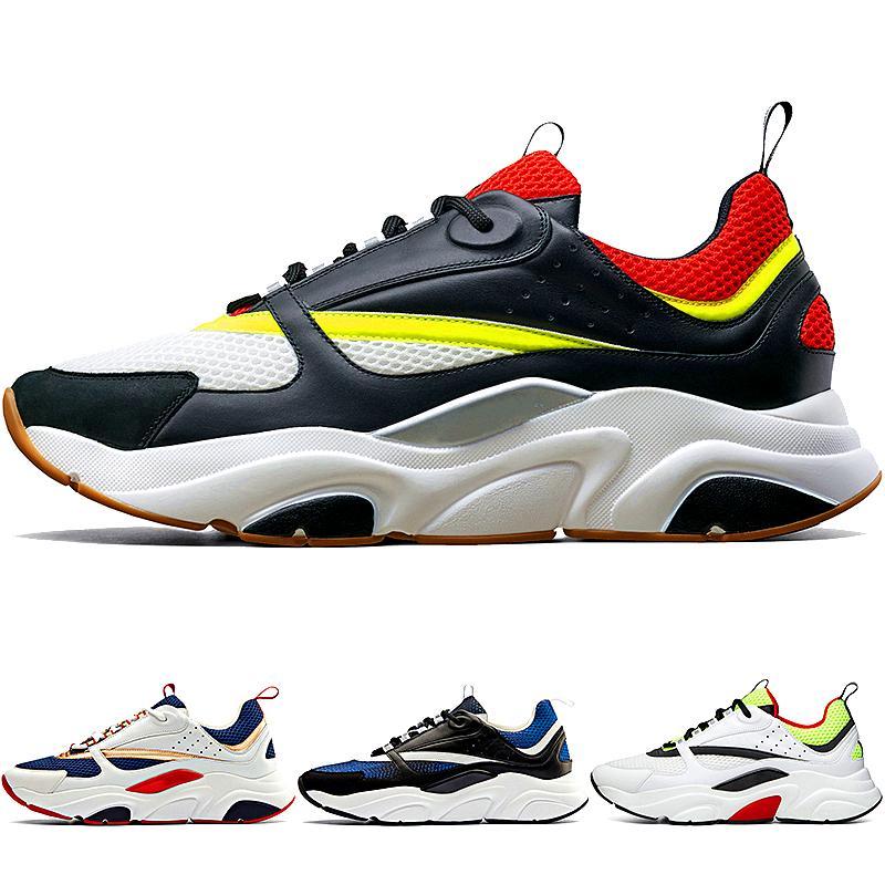 Tela e pelle di vitello formatori nuova di alta qualità B22 B23 degli uomini di scarpe da corsa Moda Francese Black Women Red Sneakers NO BOX! US12 EUR46