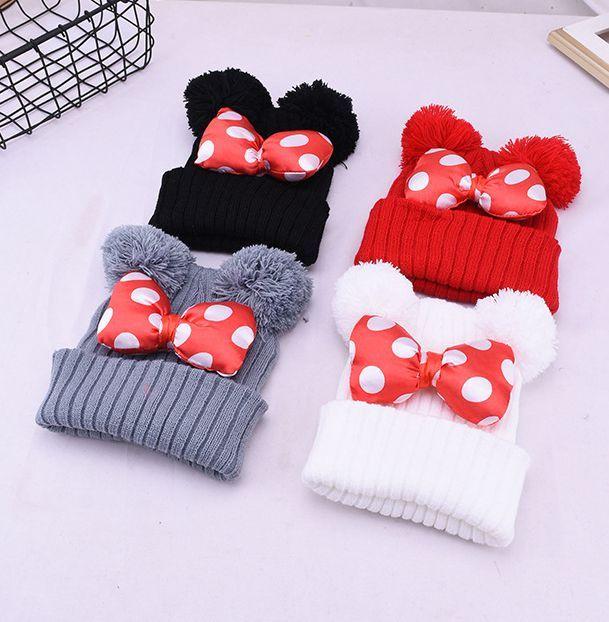 baby Pom Pom Beanie Cap Toddler Kids Baby Girls Winter Warm Crochet Knit Hat Bow Fur bow hat 2-5 years KKA7523