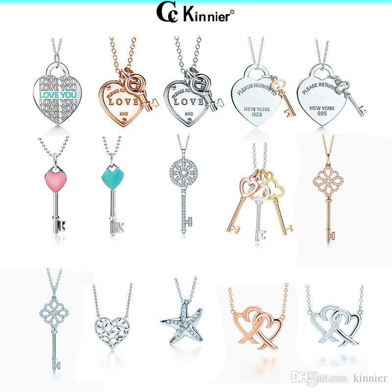 Gioielli originali 925 reale Sterling Silver collana pendente di chiave del cuore di amore con lusso Regalo di nozze scelte di colore multiplo