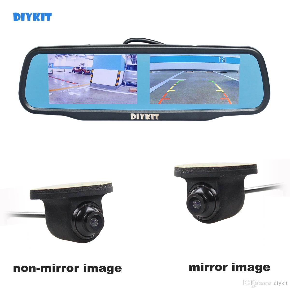 DIYKIT 4.3inch Rearview Car Mirror Monitor + CCD Car Rear View Camera for Rear/ Front / Side View Camera