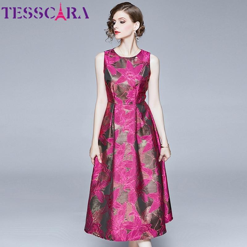 TESSCARA Femmes Long luxe Jacquard Robe Festa de haute qualité Vintage Cocktail Robe Femme Floral design élégant Vestidos