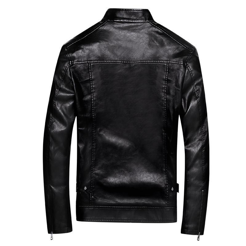 Frühling und Herbst dünne Männer Stehkragen Stickerei PU-Leder-Mantel Jugend Versatile Lässige Lederjacke