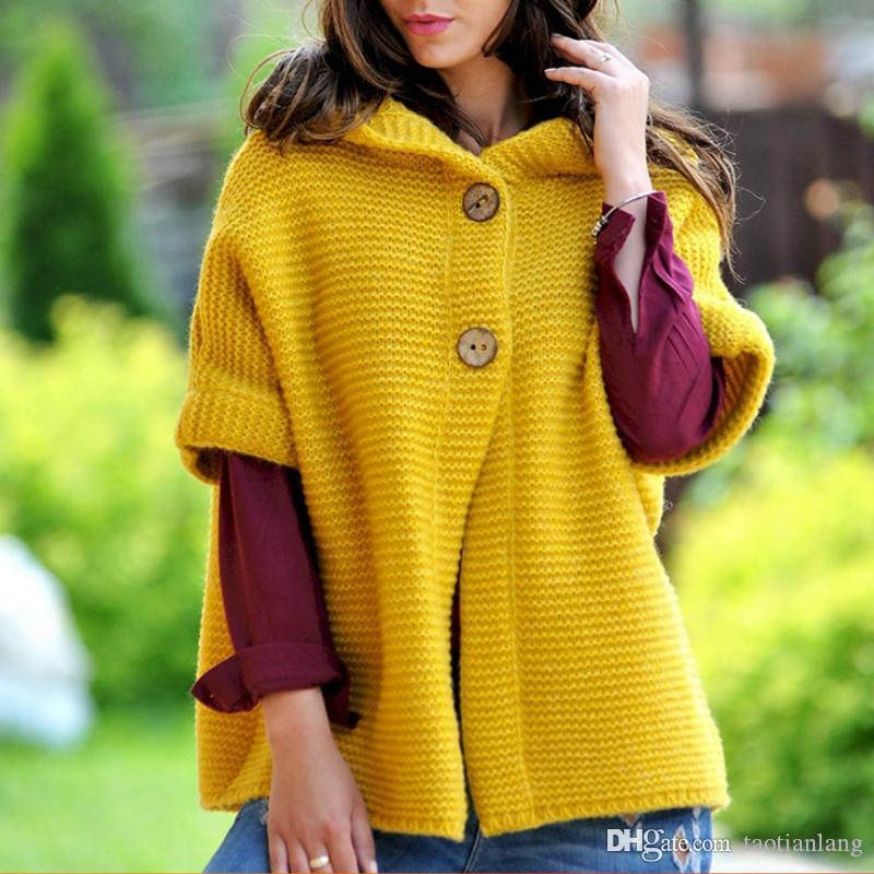 Las mujeres chaqueta de punto con capucha sólido 2019 más el tamaño de la capa del invierno del otoño Mujer 3XL casual de punto Suéteres largos Streetwear J190917