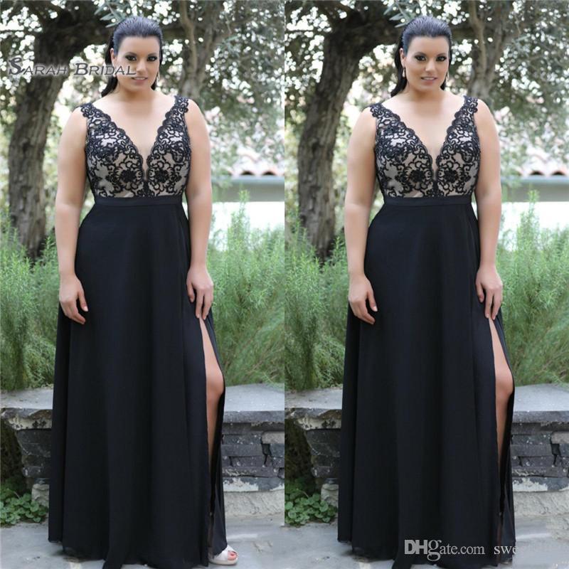 Black Plus Size Prom Dresess V Neck Sleeveless Side Split Chiffon Evening Dress Lace Appliques Custom Made Cocktail Party Dress