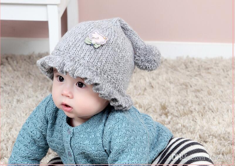 حار الأزياء ins ذيل طويل ملون القطن الصبي والفتيات القبعات قبعات الشتاء اليدوية ل 0-6 متر مولود جديد الطفل قبعة الطفل الشتاء 5 قطعة / الوحدة