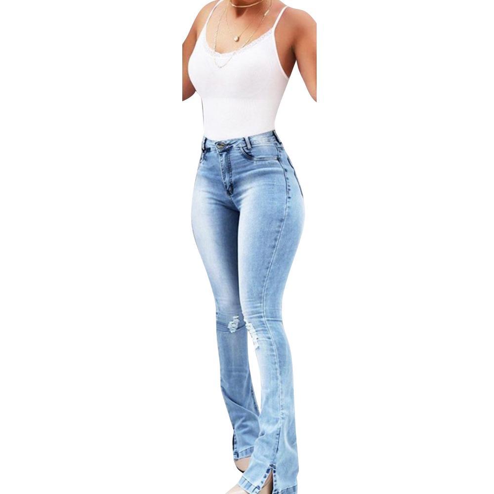 Compre Nueva Alta Cintura Femenina Jeans Rotos Para Las Mujeres Mas El Tamano De Los Pantalones De Bell Bottom Dril De Algodon De La Llamarada Mom Jeans Mujer Flaca N23 A 30 78