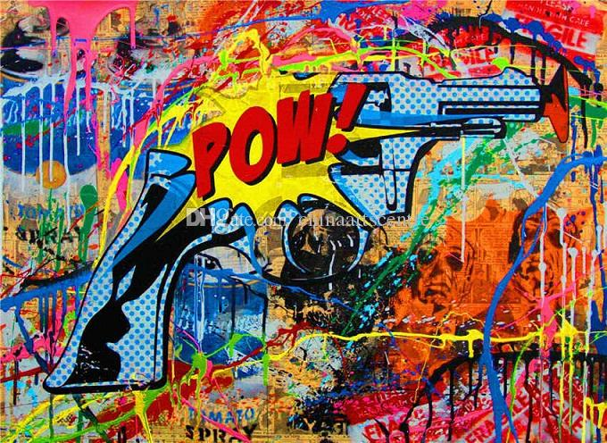2019 Mr Brainwash Banksy Handpainted Hd Print Abstract Graffiti Art Oil Painting The Gun On Canvas Wall Art Home Decor High Quality G187 From