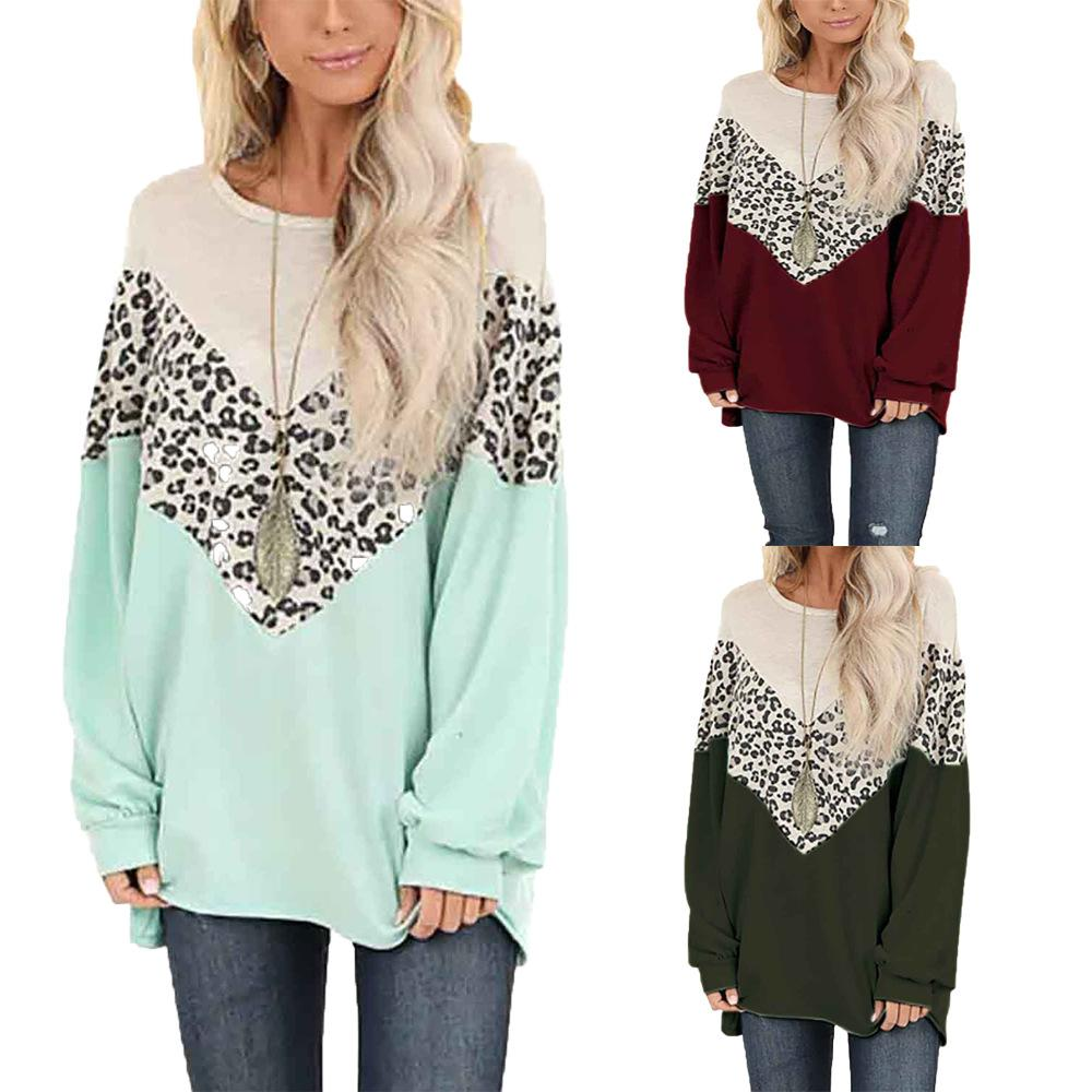 Leopard Printed Women Long Sleeve Pullover 3 Colors Fashion Sweatshirts O Neck Pullover for Sping Autumn
