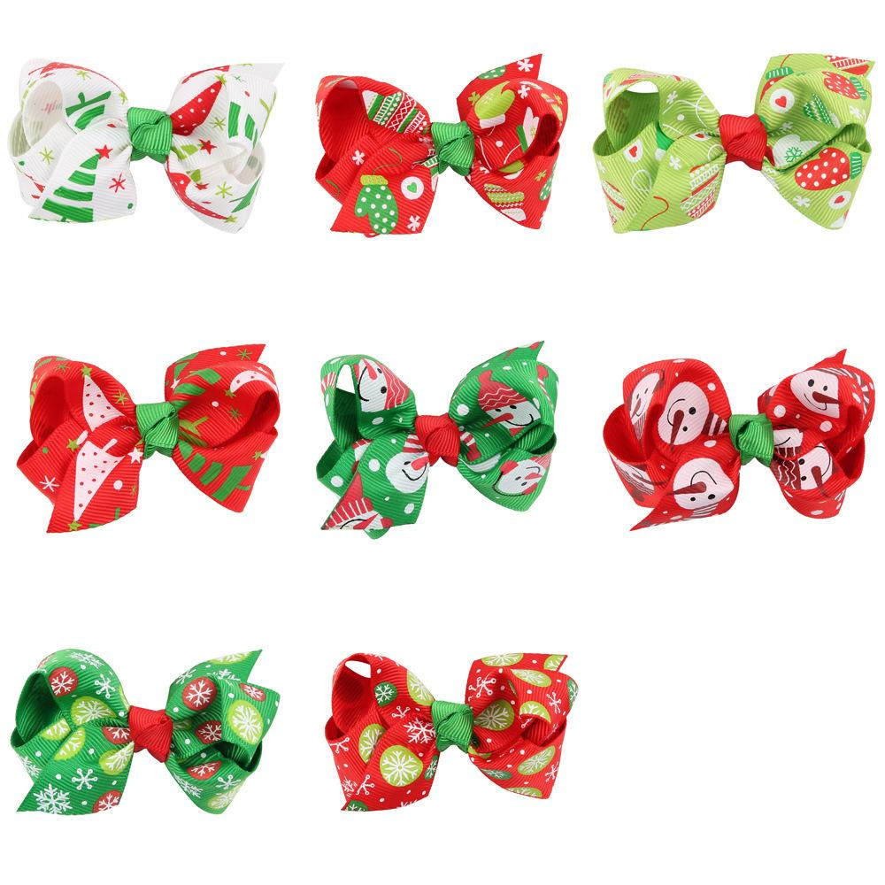 20pcs Boutique Cute Ribbon Hairpins Solid Cartoon Bowknot Hair Clips Xmas Party Headware Fashion Princess Hair Accessories