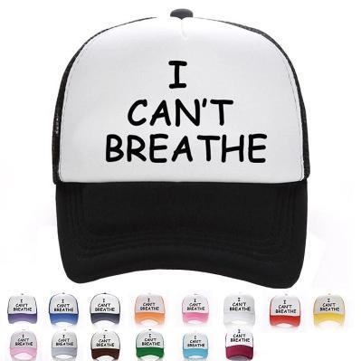 Eu não posso respirar boné de beisebol Outdoor homens e mulheres Chapéus Cap Malha Moda Verão Chapéu de Sol 15 cores EEA1658