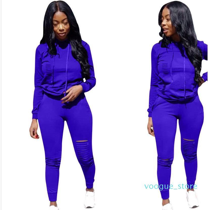 Big C Donne Del Progettista Tute di Colore Solido Con Cappuccio Felpe Pantaloni 2 Pz Set Abbigliamento