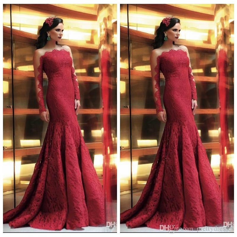 2019 Sheer Long Sleeves Mermaid Lace Prom Dresses Slim Formal Maxi Custom Vestidos De Evening Party Gowns Cheap Slim Plus Size Special