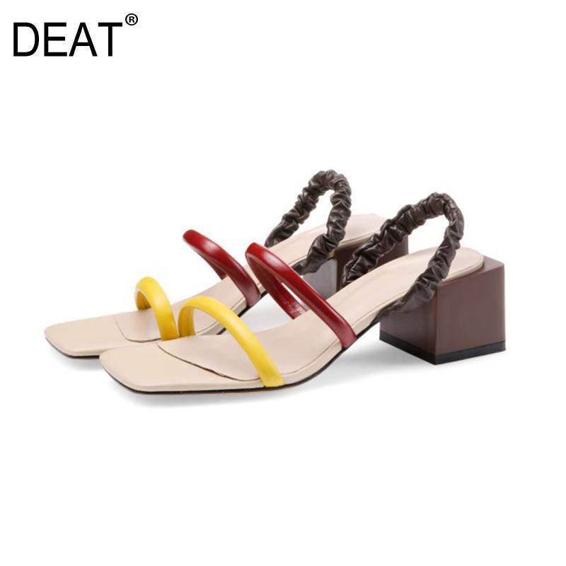 [2020] DEAT Nouveau Printemps Été bout carré peu profond Hit Couleurs en cuir véritable haut talons sandales pour la mode 10I172 Chaussures Femmes