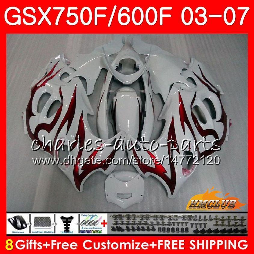 Cuerpo para Suzuki Katana GSXF750 GSXF600 2003 2004 2005 2006 2007 3HC.14 GSX600F GSX750F GSXF 600 750 03 04 05 06 07 Juego de llamas rojas