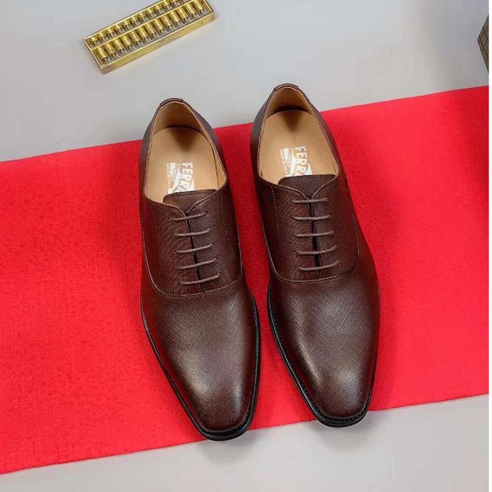 zapatos de cuero de los hombres maduran tamaño de los zapatos de vestir de euros marrón 38-44 WSJ019 color sólido zapatos de negocios estable family02