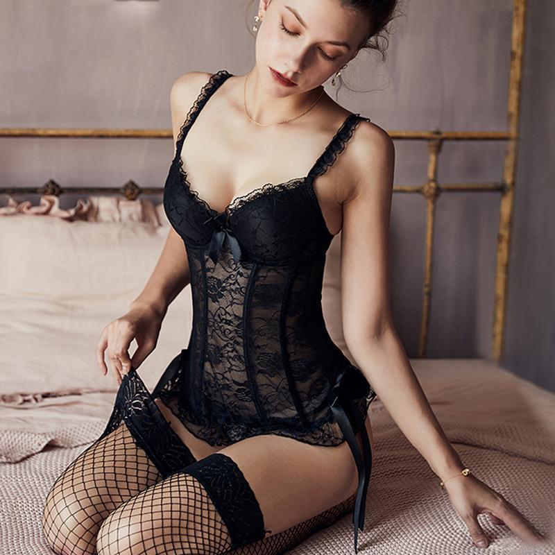 Pechugón atractivo del corsé de las mujeres y de alta elástico de la cintura corsé gótico Trainer mono de la ropa interior transpirable corsés de las mujeres