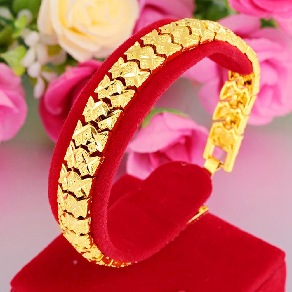 Polso catena intagliato link oro giallo 18k riempito Mens delle donne del braccialetto di modo classico di stile freddo