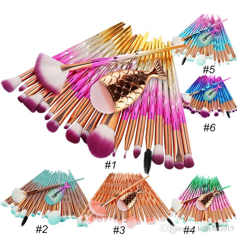 Mermaid Makeup Brush Set 21 pcs Powder Foundation Eyeshadow Eyebrow Brush with Fish Tail Diamond Eyes Make up Brushes Kit Tools