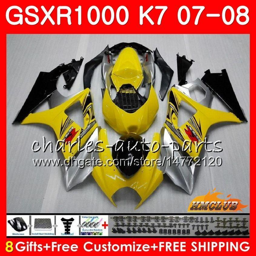Suzuki GSXR-1000 GSXR1000 2008 2008 07 08 Bodys 12HC.10 GSX R1000 GSX-R1000 K7 GSXR 1000 07 08 ABS 노란색 은색 페어링 키트