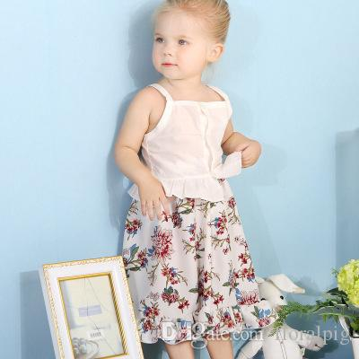 2019 New Toddler Kid Baby Girl Princess Sling Tops+Summer Floral Skirt Outfits