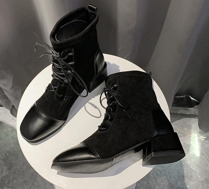 Spring and autumn single boots net red fashion mid-heel temperament 2019 new Martin short boots