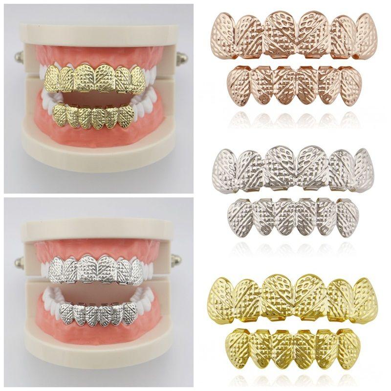 Hip Hop styles adultes Bretelles galvanoplastie Twill dents grils d'impression dentaire Surface Grillz Bijou unique à double rangée 13cla E1