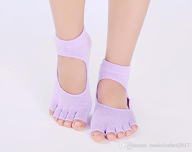 Five Fingers Half Toe Ballet Antiskid Yoga Calcetines Calcetines deportivos de piso Good Grip Calcetines de algodón para mujer Pilates