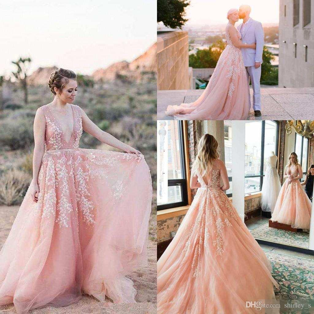 2019 Charming Blush Pink Beach Wedding Dresses With Sexy Backless Deep V-Neck Beads Lace Appliques Country garden Bridal Gowns Customed