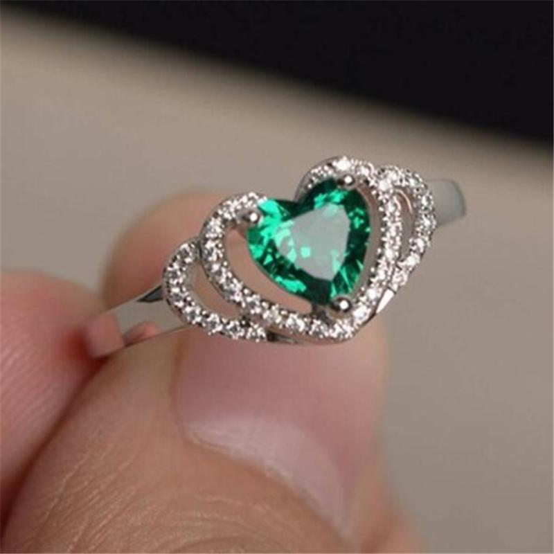 new fashion simple green cubic zirconia crystal heart rings for women engagement wedding finger rings girl gift jewelry