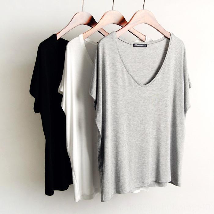 Einfarbig loses dünne Basis Shirt shirt schwarz weiß grau reine Farbe mit V-Ausschnitt T-Shirt