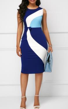 Mantel OL Arbeit Kleid-Sommer-Damen Farbe Kontrast Ärmel Bodycon Kleider plus Größe 4XL 5XL Damen Designer