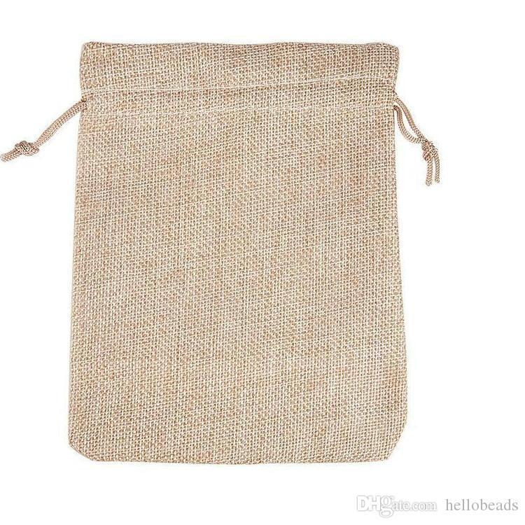 4 tamaños color original yute bolsa cordón WeddingChristmas embalaje bolsas  bolsas de regalo pequeña joyería bolsita Mini bolsas de yute