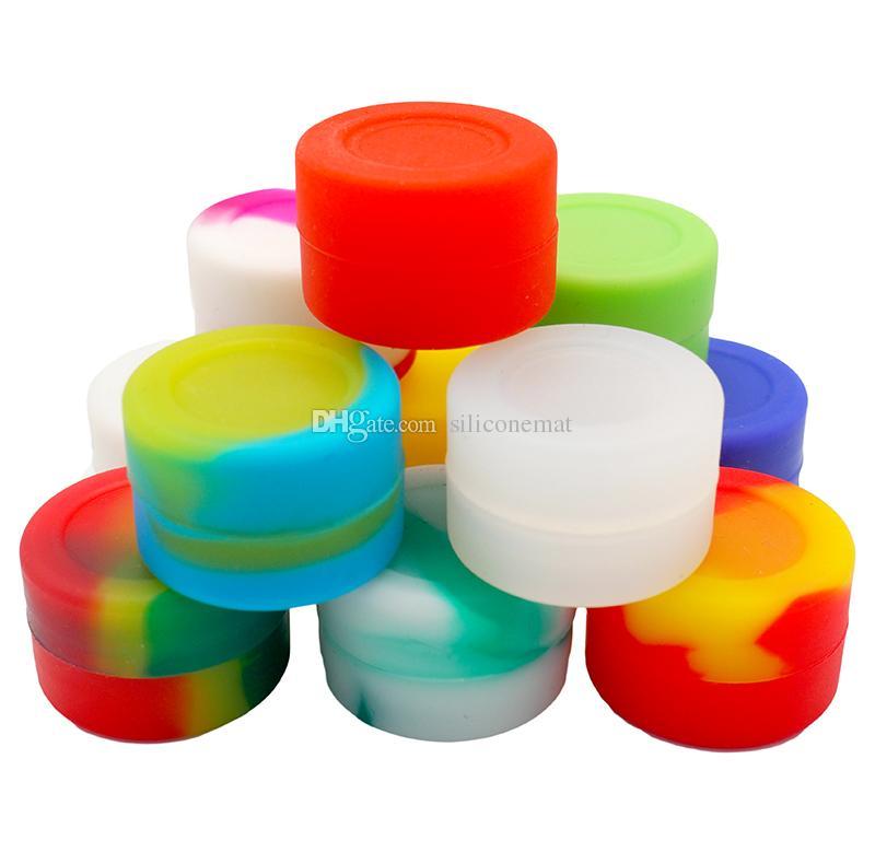 10 unids / lote 3 ml mini surtido de silicona de color para Dabs Forma Redonda Contenedores de Silicona cera Tarros de Silicona