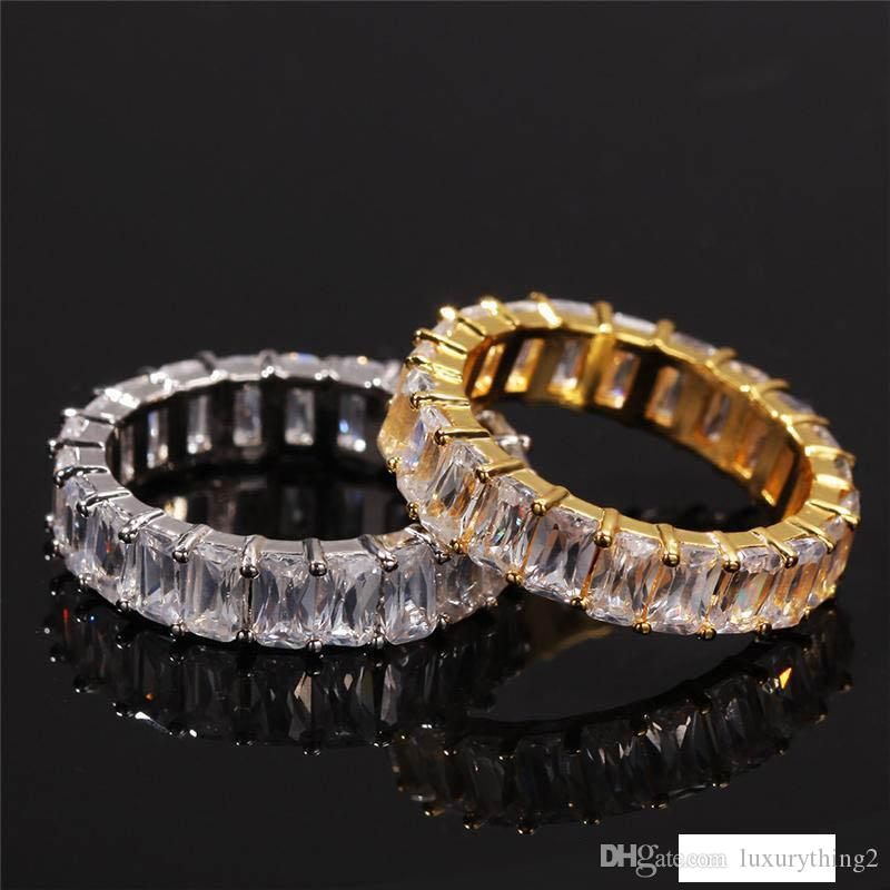 Hip-hop Men's Ring 18k Yellow White Gold Plated Large Zircon Ring Finger Rings Hot New Model