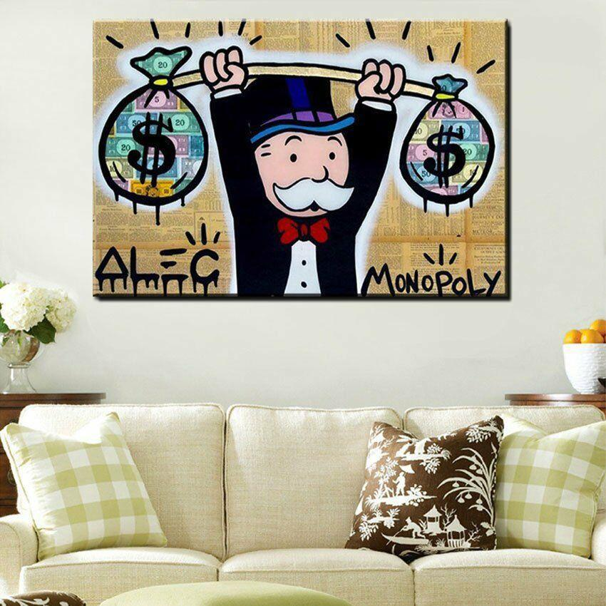 Alec Monopoly Heavy Weight Dollar Home Decor Handpainted &HD Print Oil Painting On Canvas Wall Art Canvas Pictures 200