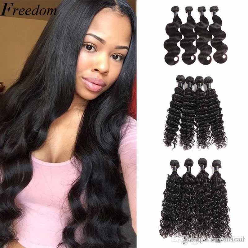 Cheveux brésiliens faisceaux 100% de paquets de cheveux humains Remy Extension de tissage de cheveux 10-26 pouces corps droit vague d'eau profonde 50g / pcs