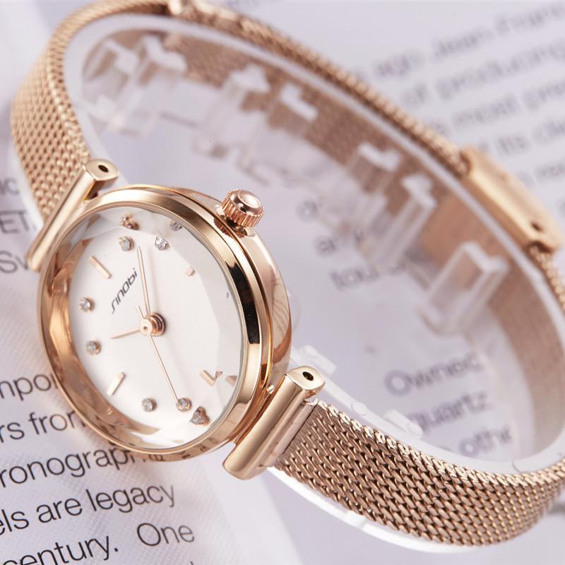 Sinobi Top Brand Luxury Women Watches Golden Simple Casual Stainless Steel Small Dial Bracelet Mesh Quartz Lady Girl Wristwatch Y19062703