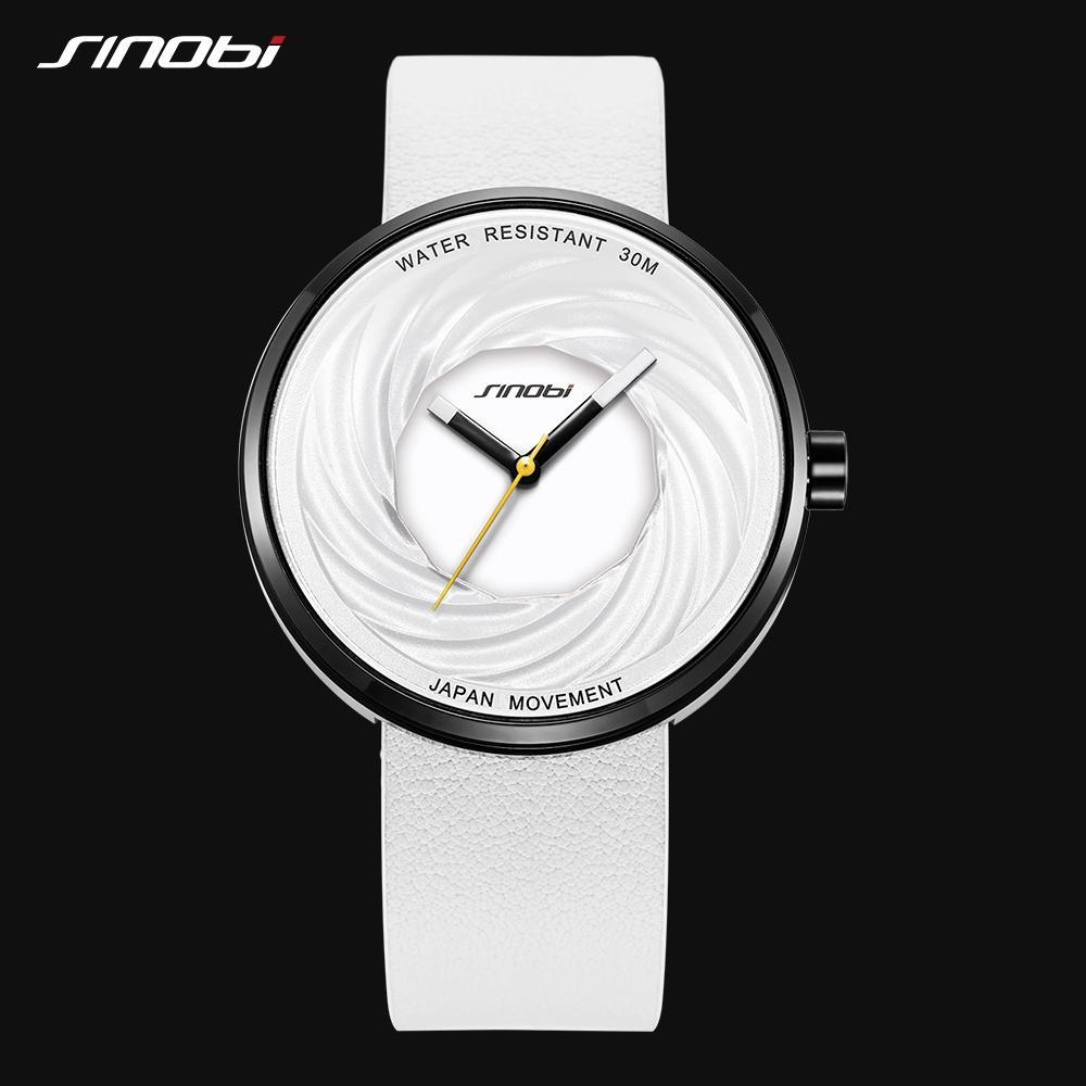 Sinobi 패션 손목 시계 여성 빅 새로운 창조적 인 에디 디자인 높은 품질 가죽 스트랩 화이트 시계 캐주얼 relojes의 파라 mujer 다이얼