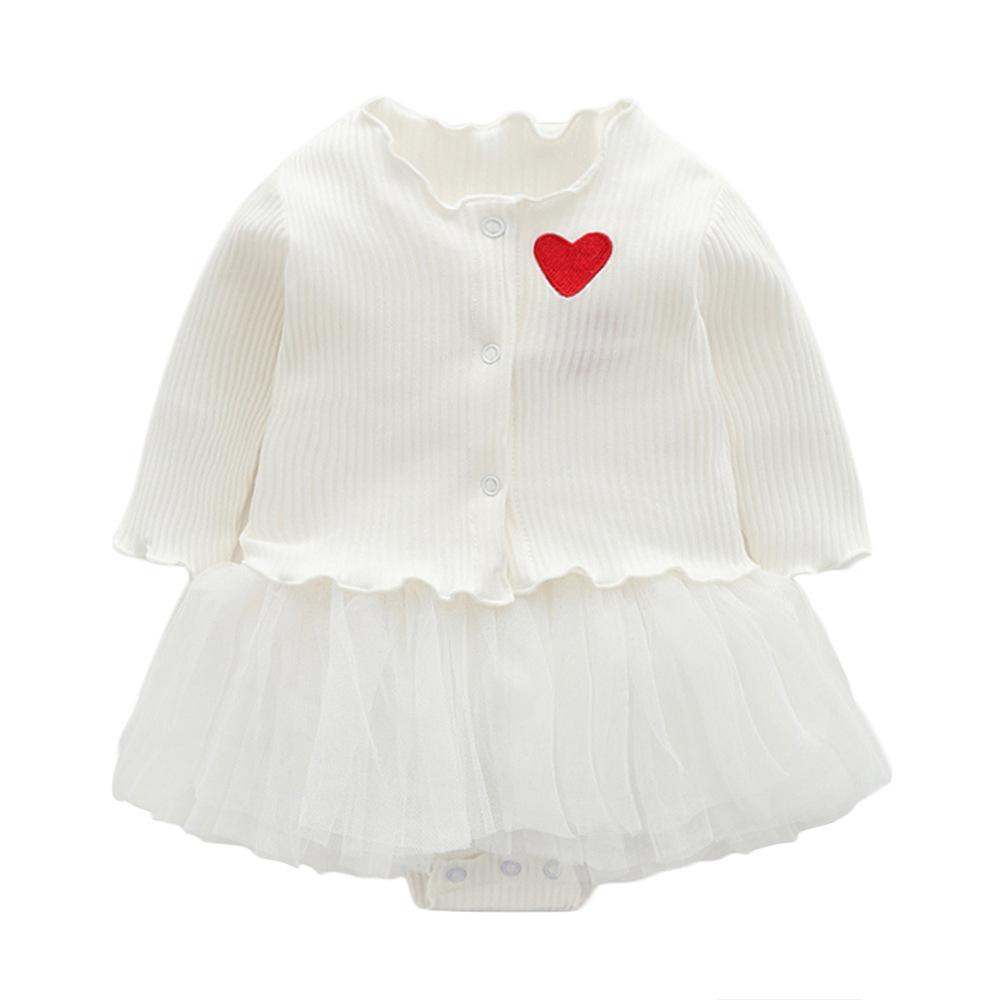 Baby Girl Dress Long Sleeve Heart-shaped Baptism Dress for Baby Girls Birthday Cute Dresses Set Infant Coat Outfits