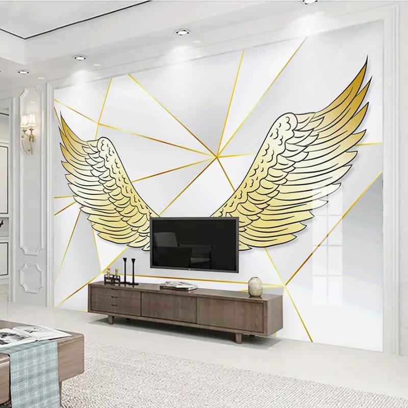 Dropship Fond d'écran 3D personnalisés peints Golden Wings moderne TV fond décor mur papier pour Salon Chambre Géométrique Papier peint photo