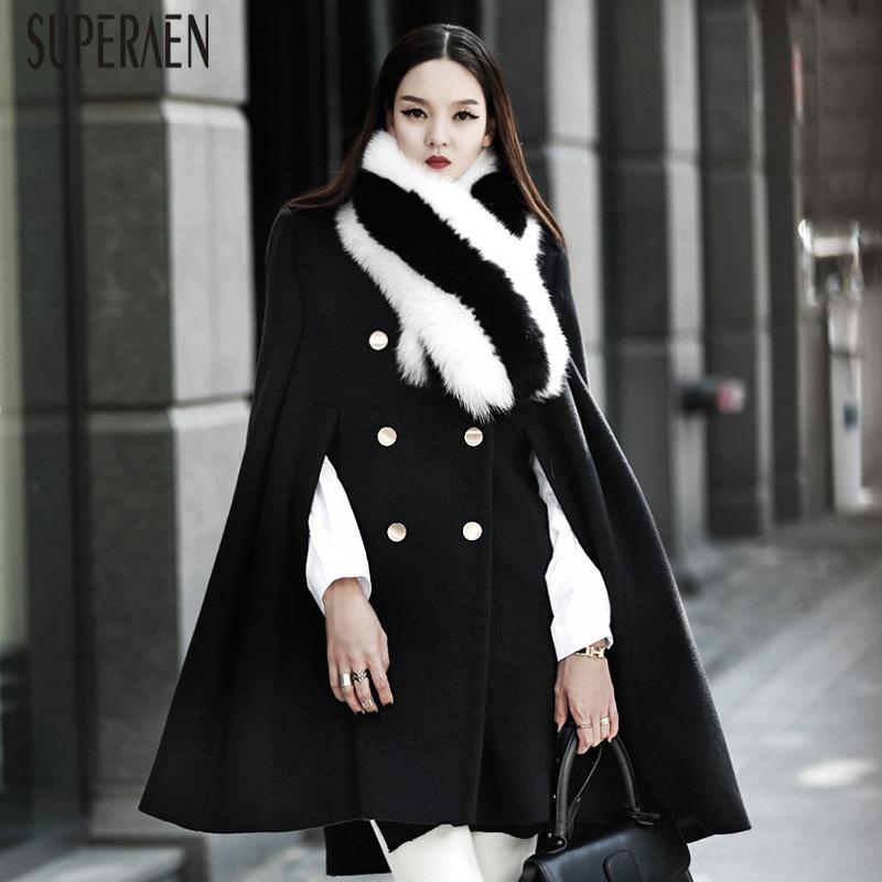 SuperAen Cloak Woolen Coat Female Shawl Fashion Wild Thick Fashion Women Woolen Coat Autumn and Winter New 2019 Women Clothing