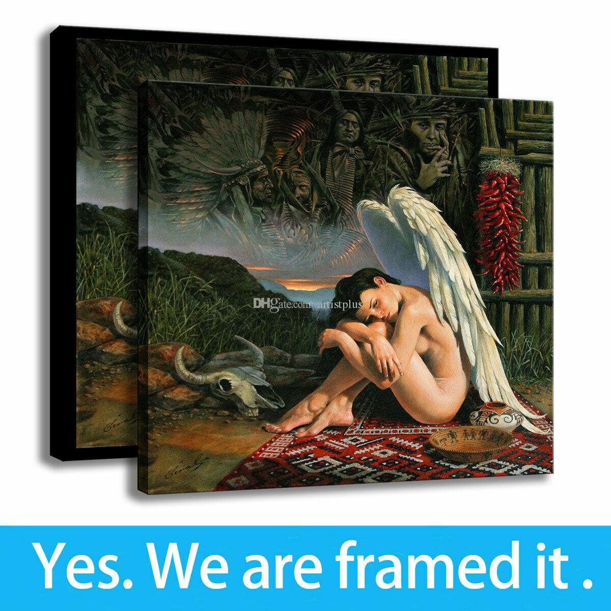 Decoración del dormitorio de la lona impresión de HD Angel Girl Pintura Michael Cheval Arte Enmarcado - listo para colgar - Soporte de personalización