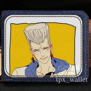 Jean pierre polnareff cüzdan Jojo Tuhaf Macera çanta Gümüş arabası nakit para çantası durumda Para notecase Deri jean çanta çanta Kart sahipleri