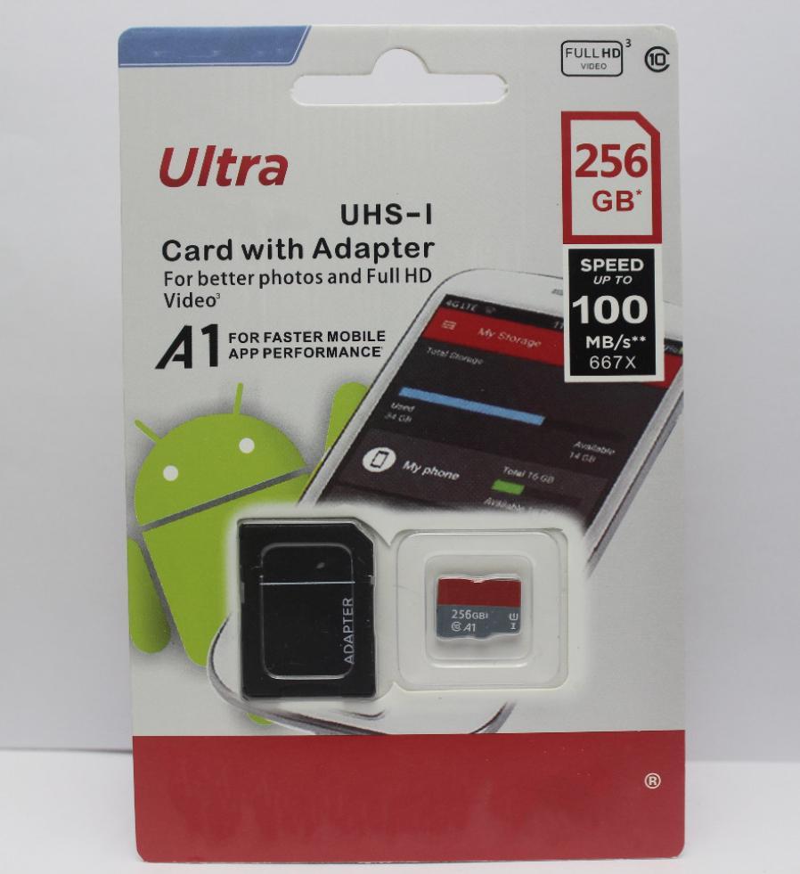 2020 de alta calidad el último producto de Clase 10 de 32GB 64 GB 128 GB 256 GB adaptador de tarjeta SD micro SD libre al por menor libre de la ampolla 25pcs Embalaje