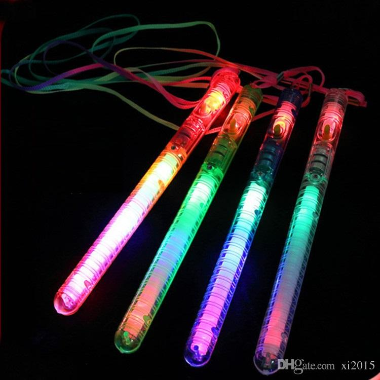 Multi Colors Flash Sticks with Rope Christmas Party Supplies LED Flash Light-up Wand Glow Sticks Party Decoration W8633