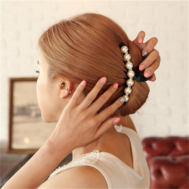 Emulational Pearl Top Gripper Hairpins Crystal Rhinestone Hair Clip Hair Crab Plastic for Women Clamp Resin Barette