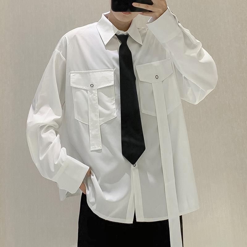 Marca New Casual cor sólida camisa dos homens vestido Plus Size Mens fita dupla bolso Moda Shirts Manga comprida Camisas Para Hombre