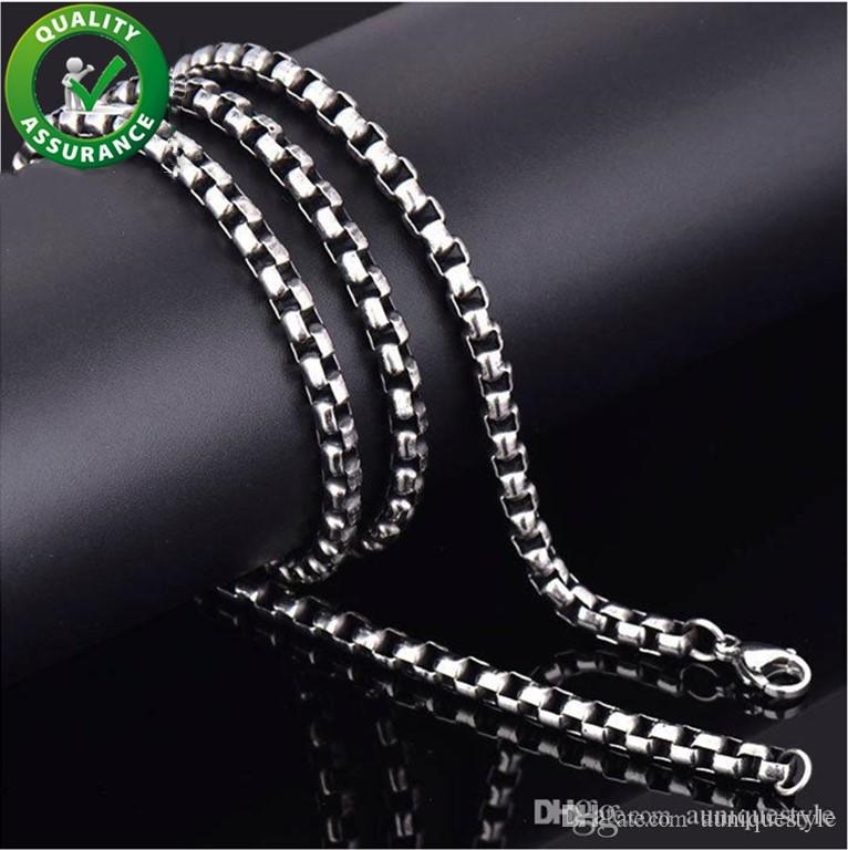 Stainless Steel Jewelry Luxury Designer Mens Necklace Link Chain Square Beads Cross Chain Long Necklaces Men Steampunks Findings Accessories